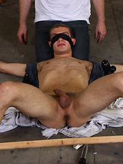 Tied down and restrained in almost every way for cute boy