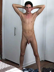 Brunette boy jerks his tool
