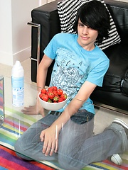 Naked emo boy and strawberries session