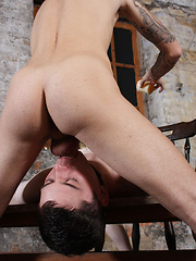 Aaron Aurora is star tied, unable to move, his dick is hard and twitching for release