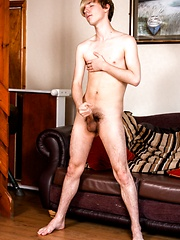 Young boy Tyler Brooks showing his nude slim body and pretty cock