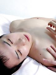 Japanese boy Toraemon can no longer hold out and shoots his cum onto his stomach and groin
