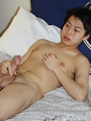 This 23 year old, slim guy is from Japan and he is appearing for the first time on film