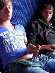 Boys having fun in train