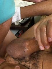 Tony strokes his hard cock