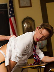 Ryker Madison arrives to class early to tease his lover turned professor Doug Acre before the class begin